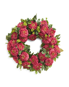 Faux Zinnia Wreath