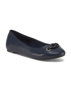 Round Toe Flats With Knot