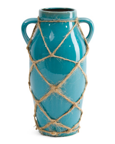 2 Handle Vase With Rope