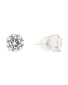 Made In USA 14k White Gold 5mm Cz Stud Earrings
