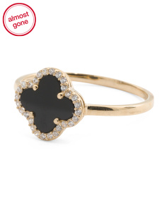 Made In USA 14k Gold Cubic Zirconia Onyx Clover Ring