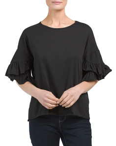 Juniors Ruffle Sleeve Top