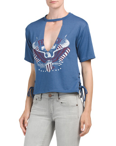 Juniors V Neck Cut Freedom Tee