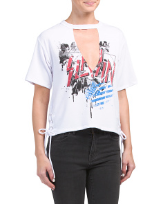 Juniors V Neck Cut Side Lace Up Tee