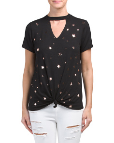Juniors V Neck Cut Rose Gold Stars Tee
