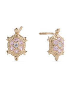 Made In USA 14k Gold Cubic Zirconia Pink Turtle Stud Earrings