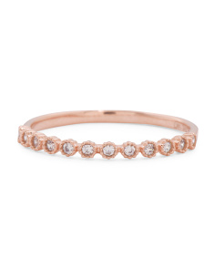 Made In USA 14k Rose Gold CZ Filigree Stacking Ring