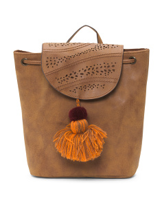 Pom And Tassel Backpack
