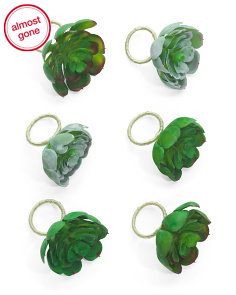 Set Of 6 Succulent Napkin Rings