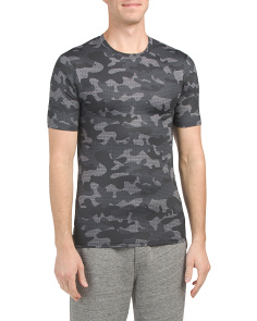 Camo Print Crew Neck Fitted Tee