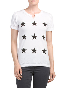 Star Print Crew Neck Cut Out Top