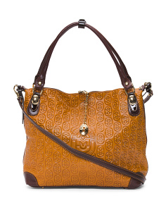 Made In Italy Embossed Leather Tote