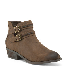 Double Buckle Casual Ankle Booties