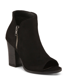 Peep Toe Stacked Heel Booties