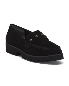 Lug Sole Slip On Suede Loafers
