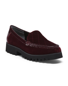 Velvet Slip-on Lug Sole Shoes