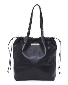 Drawstring Soft Leather Tote