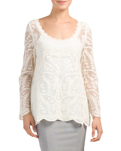 Long Sleeve Border Scallop Top