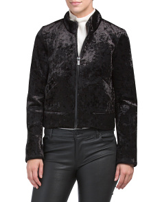 High Collar Velvet Bomber Jacket