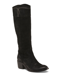 Suede High Shaft Riding Boots