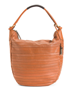 Made In Italy Multi Stitch Stripe Leather Hobo