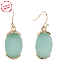 Genuine Stone Oval Drop Earrings In Gold Tone