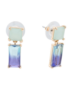 Ombre Crystal Earrings In Gold Tone