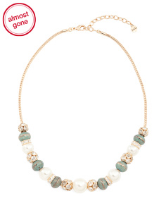 Patina Beaded Necklace In Gold Tone