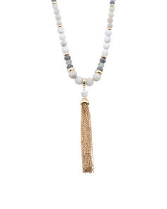 Howlite And Quartz Beaded Tassel Necklace