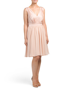 V Neck Pleated Cocktail Dress