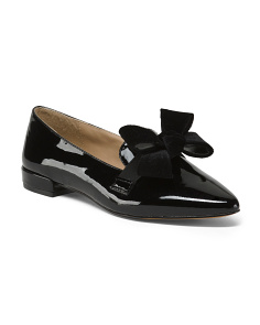 Patent Leather Tailored Flats With Bow