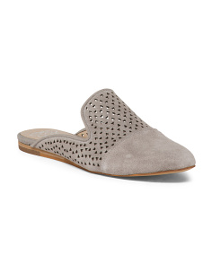 Perforated Suede Mules