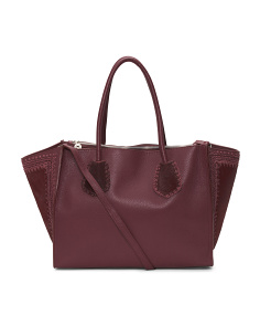 Made In Italy Leather Three Compartment Tote