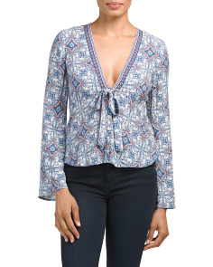 Juniors Printed Border Blouse
