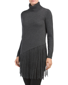 Fringed Turtleneck Cashmere Sweater