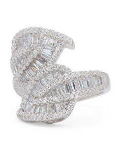 Sterling Silver Cubic Zirconia Baguette Leaf Bypass Ring