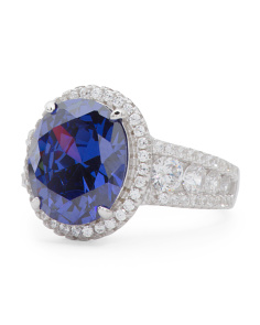 Sterling Silver Tanzanite Cubic Zirconia Ring