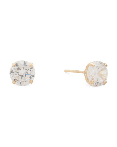 Made In Usa 14k Gold 5mm Round Cubic Zirconia Stud Earrings