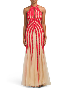Bliss High Neck Keyhole Gown