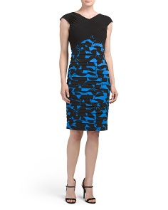 Shutter Tuck Combo Sheath Dress