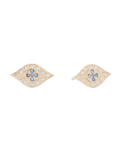14k Gold Cubic Zirconia Evil Eye Stud Earrings