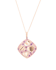 14k Rose Gold Pink Sapphire Amethyst And Diamond Necklace