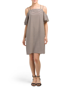 Made In USA Cold Shoulder Striped Dress