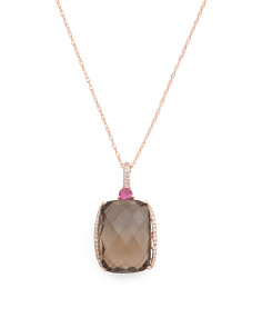 14k Rose Gold Smoky Quartz Ruby And Diamond Necklace