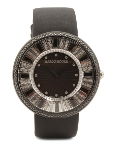 Women's Swiss Made Diamond Bezel Black Leather Strap Watch