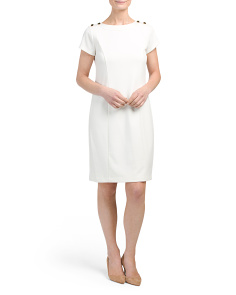 Short Sleeve Ponte Sheath Dress