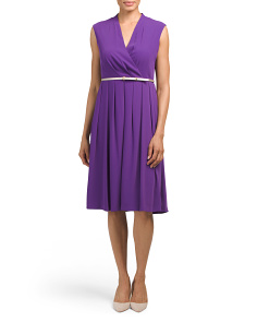 Silky Midi Career Dress With Belt