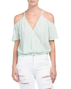 Juniors Cold Shoulder Faux Wrap Top