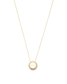 Crystal Accent Pendant Necklace In Gold Tone