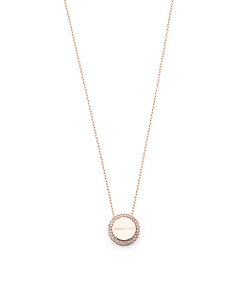 Crystal Accent Pendant Necklace In Rose Gold Tone